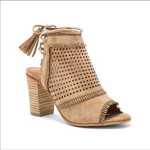 Revolve Matiko Tan Leather Tassel West Block Heels